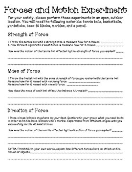 Forces and Motion Experiments {upper elementary}