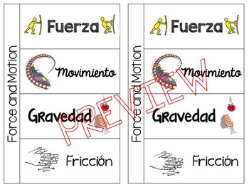 Forces and Motion Foldable BUNDLE (Spanish and English versions)