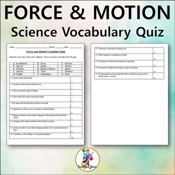 Forces and Motion Grades 4-6 Vocabulary Quiz and Word List
