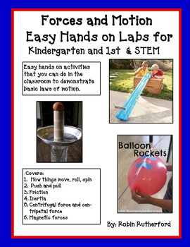 Forces and Motion Hands On Labs for Kinder., 1st and STEM
