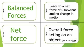 Forces and Motion Mix N' Match Cards