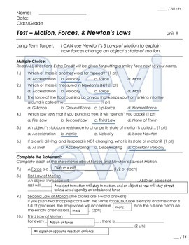 Forces and Motion Newton's Laws Unit Test and Review