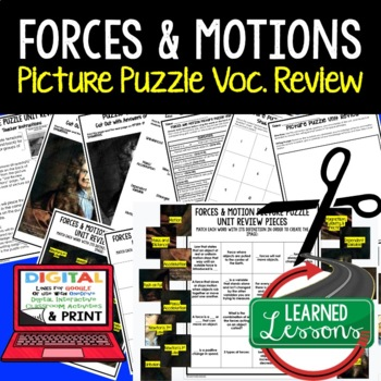 Forces and Motion Picture Puzzle Study Guide Test Prep