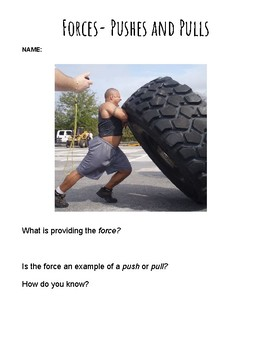 Forces and Motion: Pushes and Pulls Practice Worksheet