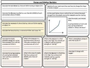 Forces and Motion Worksheet - Higher Ability