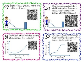 Forces and Motion Task Cards 5th Grade Common Core 5.P.1 {QR Codes}
