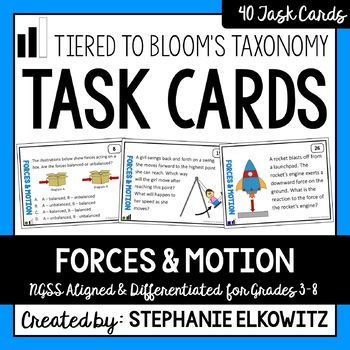 Forces and Motion Task Cards (Differentiated and Tiered)