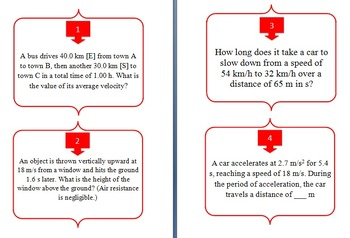 Forces and Motion - Task Cards and UNIQUE Activity - Dynamics and Kinematics