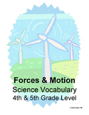 Forces and Motion Vocabulary Cards and Quiz