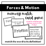Forces and Motion Vocabulary Matching Game   5th Grade
