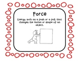 Forces and Motion Vocabulary Posters with Pictures