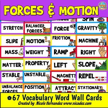 Forces and Motion Vocabulary Word Wall Cards