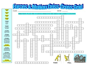 Forces and Motion Vocabulary Puzzle