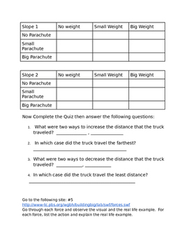 Forces and Motion Interactive WebQuest (quick review for science air test)
