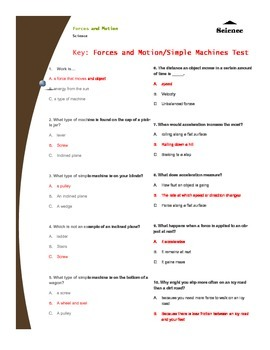 Forces and Motion/Simple Machines Test