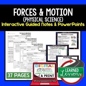 Forces and Motions Guided Notes and PowerPoints NGSS, Google