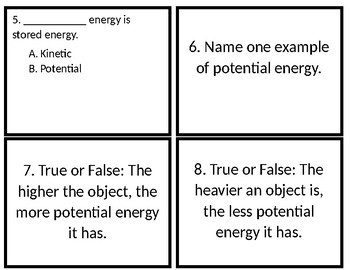 Forms of Energy Scoot Review Activity