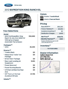 Ford Expedition Sample Listing