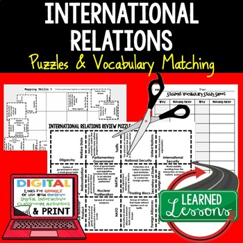 Foreign Affairs Vocabulary Activity Puzzle (Print and Digital)