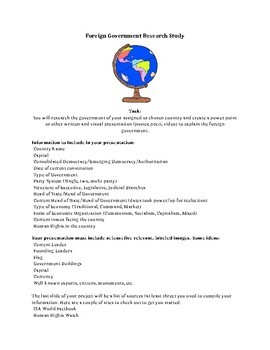 Foreign Government Research Study Comparative Country Project Editable