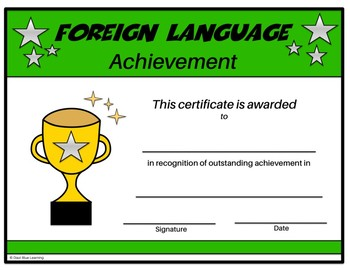 Foreign Language Certificate - Editable