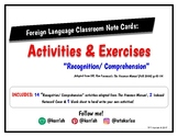 Foreign Language Classroom Activities Notecards Recognitio
