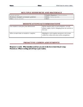 Foreign Language Common Core & Danielson Framework Lesson Plan Maker