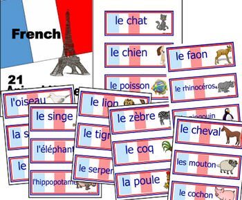 Foreign Language (FRENCH) Animals Word Wall