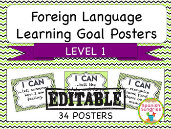 Foreign Language Learning Goal Posters:  Level 1