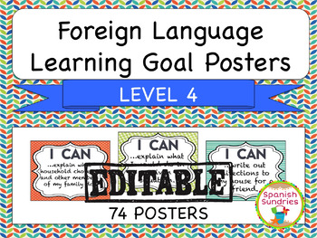 Foreign Language Learning Goal Posters:  Level 4