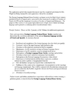 Foreign Language National Honor Society Application Package
