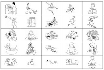Foreign Language Picture Bingo/loto: 3rd person verbs/activities