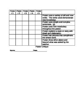 Foreign Language Poster Rubric