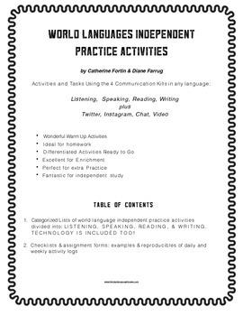 World Language Independent Practice Activities & Tech Too