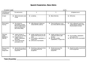Foreign Language Presentation: Basic Rubric