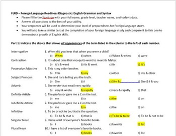 Foreign Language Readiness Diagnostic Test