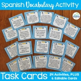 Spanish Vocabulary Activity Task Cards Plus Editable Cards