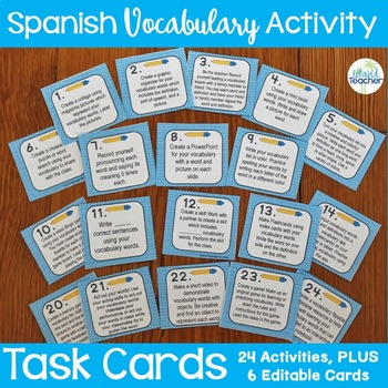 Spanish Vocabulary Activity Task Cards Plus Editable Cards