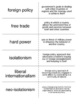 Foreign Policy Vocabulary Flash Cards for American Government