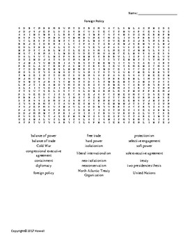 Foreign Policy Vocabulary Word Search for American Government