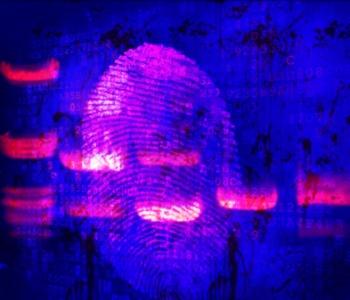 Forensic Art: DNA Banding over Fingerprint over Blood Spatter
