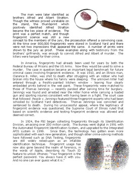 Forensic Science Article : Fingerprint History (Article and Questions)