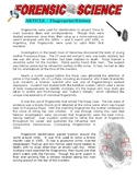 Forensic Science Article : Fingerprint History (Article and Questions / Crime)