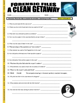 Forensic Files : A Clean Getaway (video worksheet)