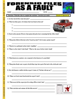 Forensic Files : As a Fault (video worksheet)