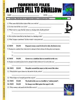 Forensic Files : Bitter Pill to Swallow (video worksheet / psychology)