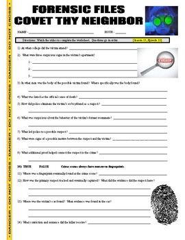 Forensic Files : Covet Thy Neighbor (video worksheet)