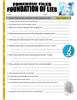 Forensic Files : Foundation of Lies (video worksheet)