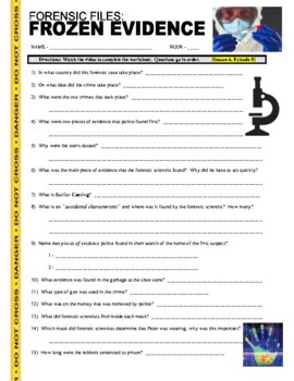 forensic files frozen evidence video worksheet by marvelous middle school. Black Bedroom Furniture Sets. Home Design Ideas