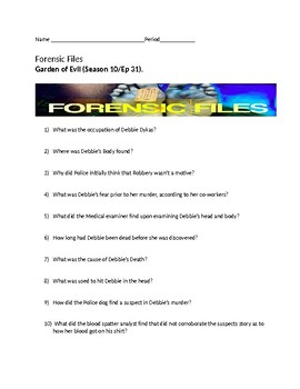 Forensic Files Garden Of Evil Video Worksheet Season 10 Ep 31